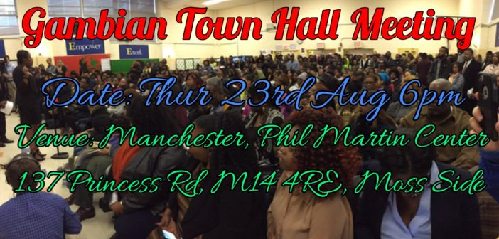 Gambian Diaspora Town Hall Meeting – 23 August, Manchester, UK