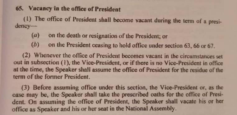 1997 Constitution Clause 65
