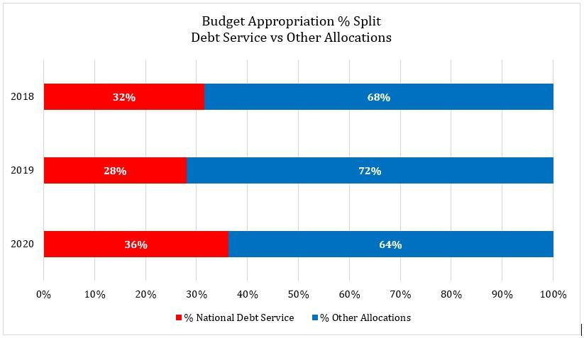 Budget Appropriation percentage split by Debt Service and Other Allocations