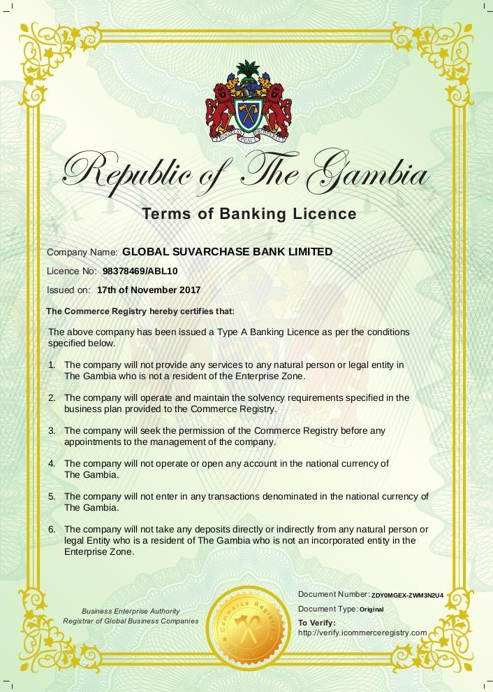Terms of Banking License