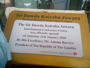 Sir Dawada K Jawara Placard for ICC