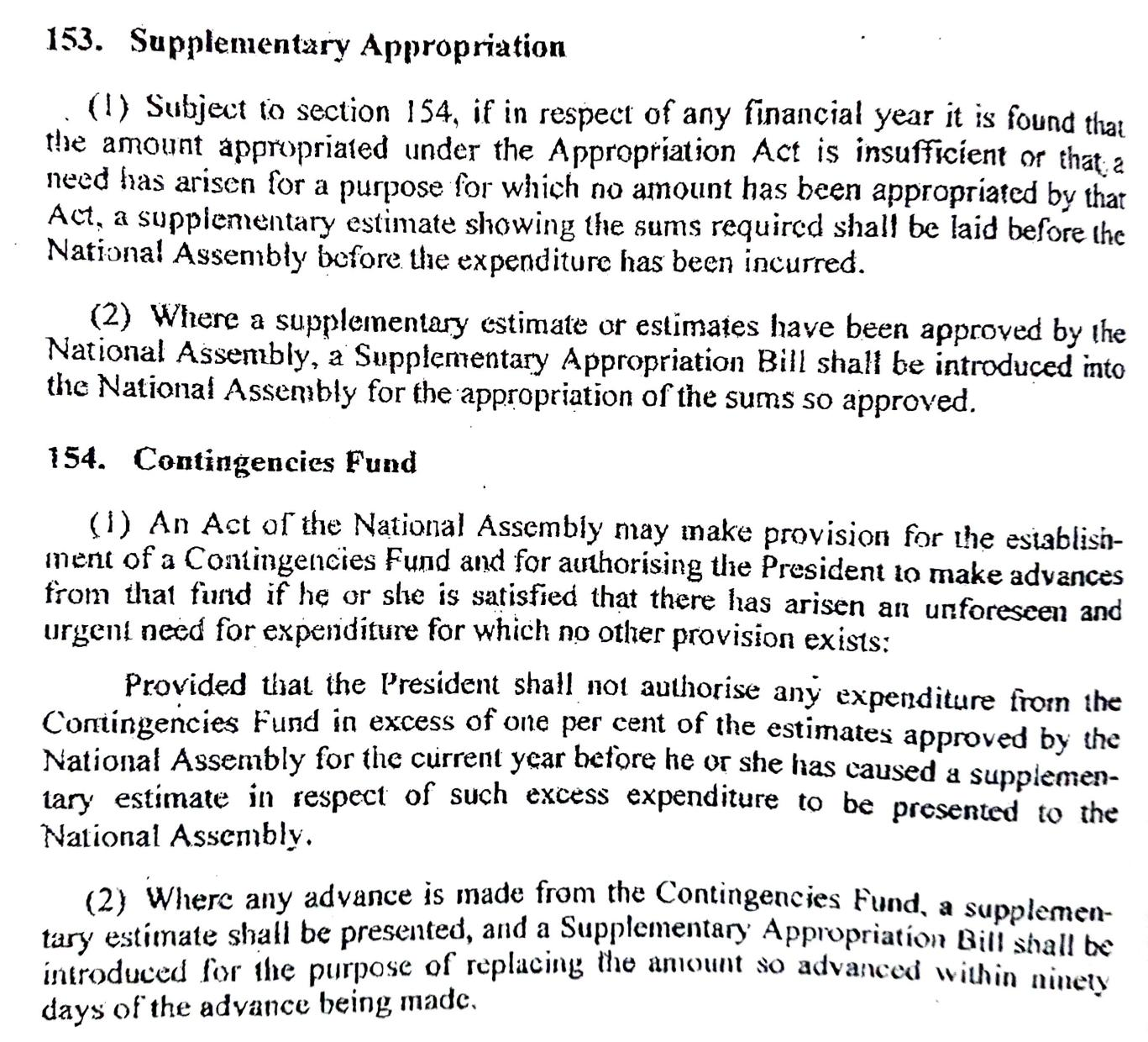 Supplementary Bill and Contingency Fund