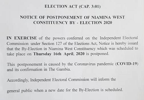 Gazette Notice Postpone Niamina West By-Election