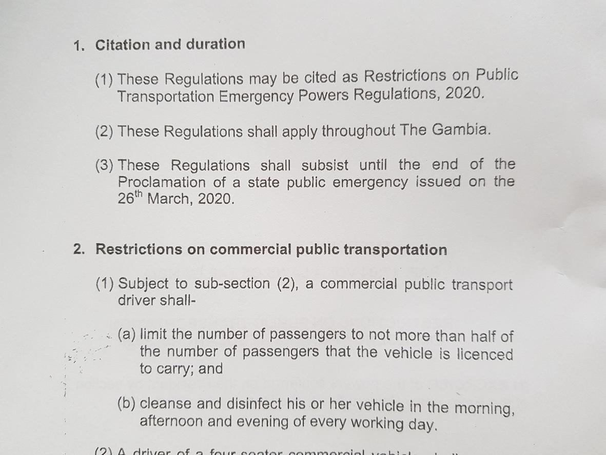 Restrictions on Public Transportation Emergency Powers Regulations, 2020