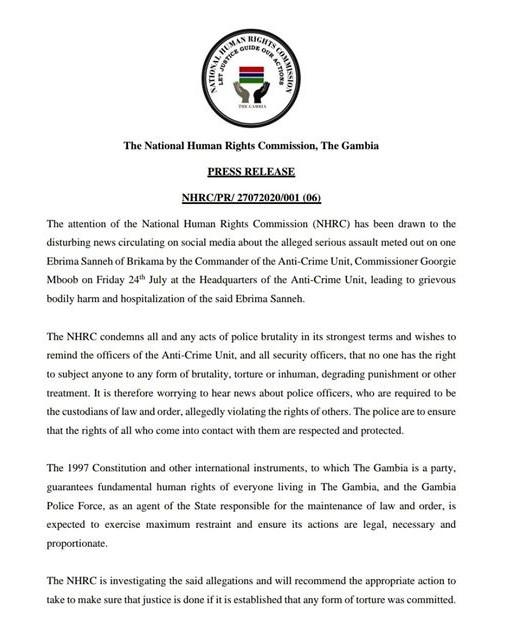 "NHRC ""Police Brutality"" Press Release"