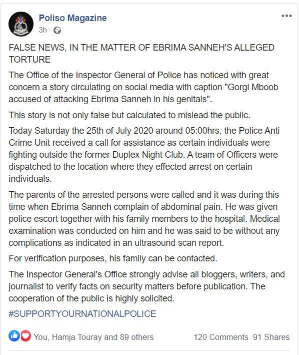Poliso Magazine, Ebrima Sanneh statement