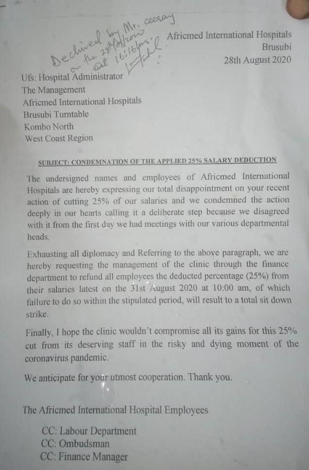 Africmed Staff Strike Letter