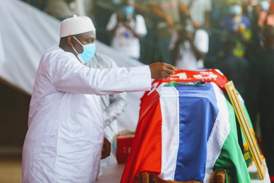 President Adama Barrow at Funeral of Football and National Icon Biri Biri