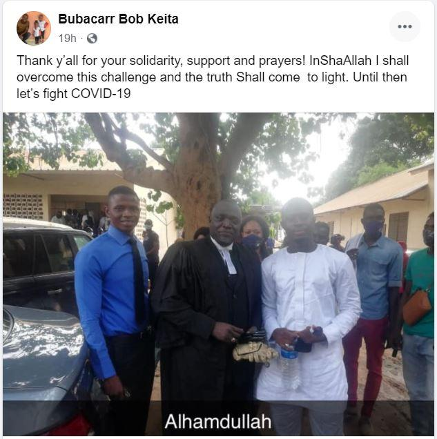 Bob Keita Facebook post after Bail