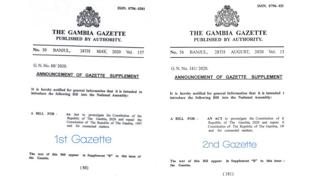 1st and 2nd Gazette of Draft Constitution