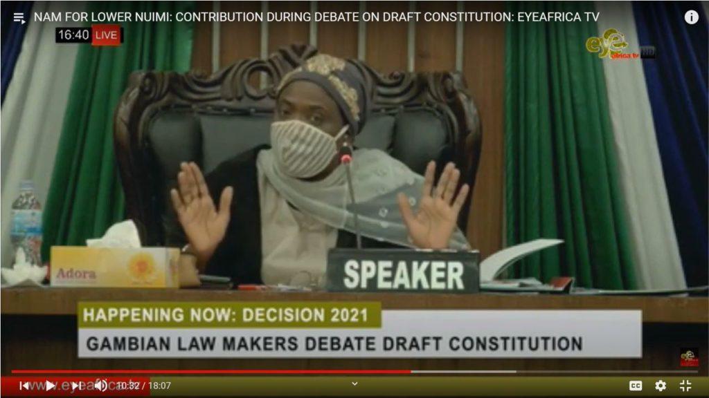 Speaker of the House raises hands