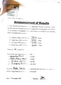 IEC Announcement of Results Kerr Jarga by elections