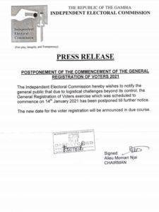 IEC Postponement Press Release