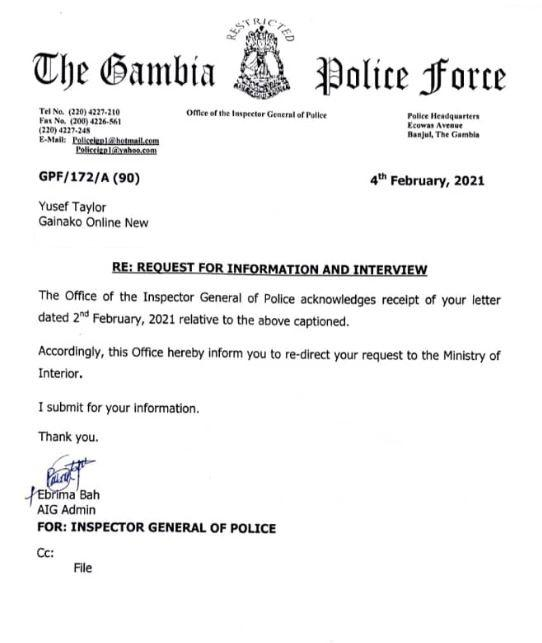 Letter from the Office of the Inspector General of Police to Gainako