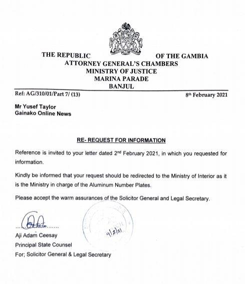 Letter from AG to Gainako