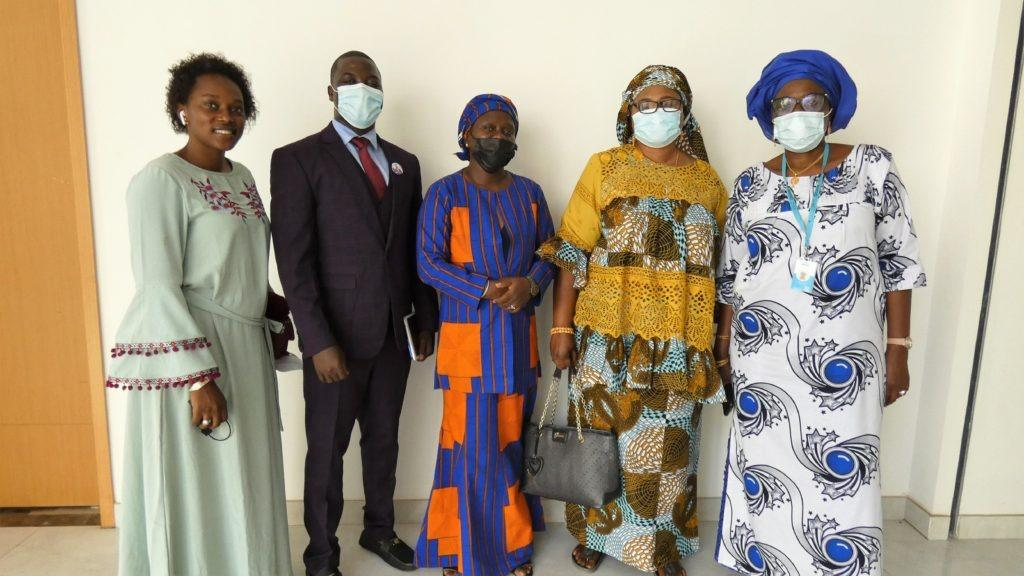 Dignitaries at the Validation including the Banjul Mayor Rohey Malick Lowe (in yellow), Youngest NAM Hon Omar Ceesay (Purple Suit) and Tabu Njie of Gender Platform (Blue and Orange Center)