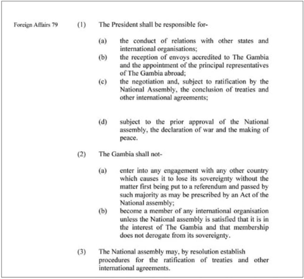 1997 Constitution, Provision 79 on Foreign Affairs
