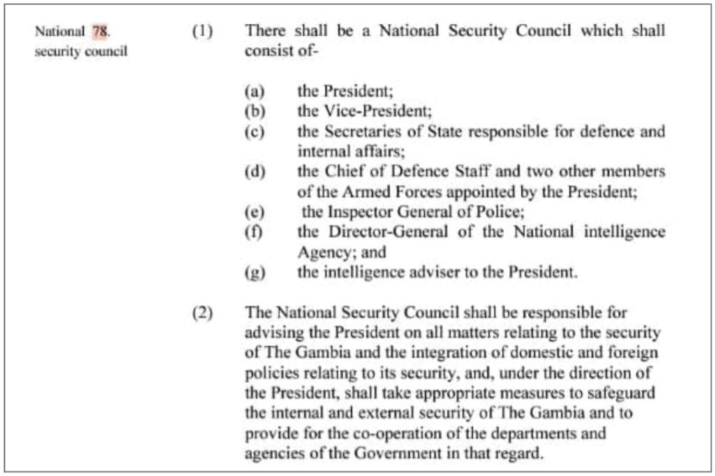 1997 Constitution, Provision 78 on National Security Council