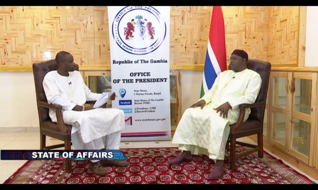 QTV's Alieu Ceesay (l) and President Adama Barrow (r)