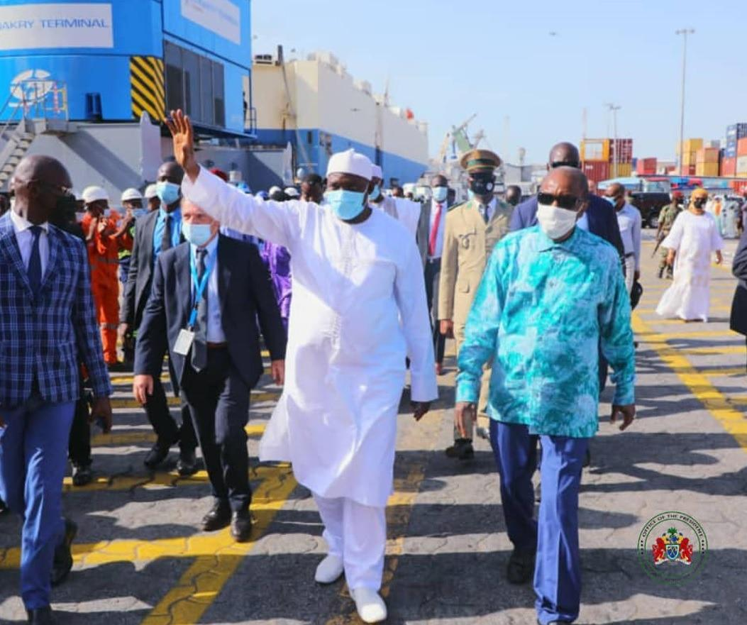 President Adama Barrow in White and President Alpha Condé in Blue