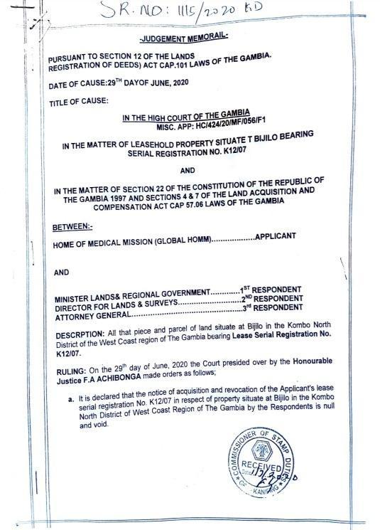High Court Ruling pg 1