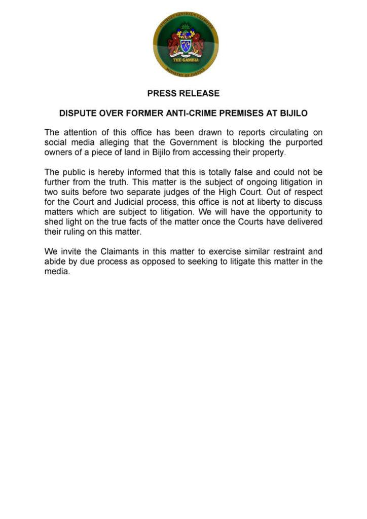 Ministry of Justice Statement